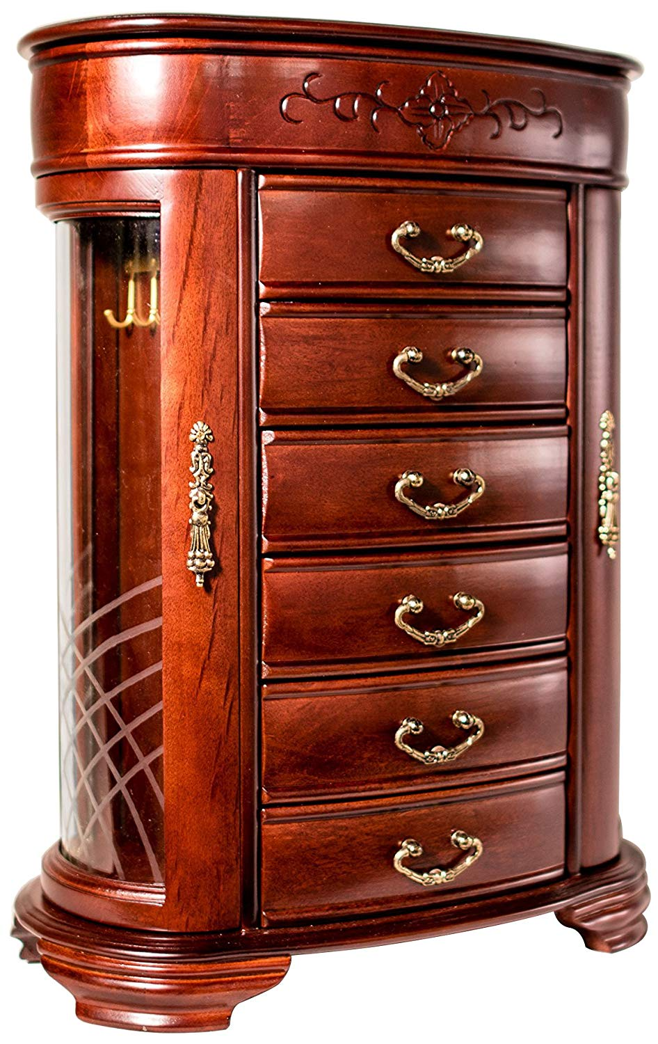 Hives and Honey Patricia Etched Glass Mahogany Jewelry Chest