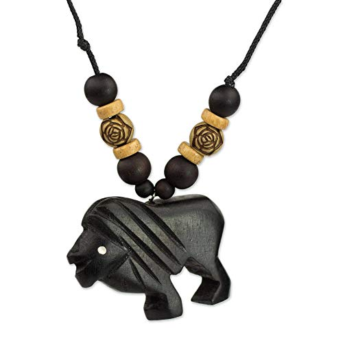 NOVICA Bamboo Wood Pendant Necklace  Mighty Lion