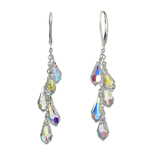 Sterling Silver Faceted Multi-Teardrop Earrings Made with Swarovski Crystals