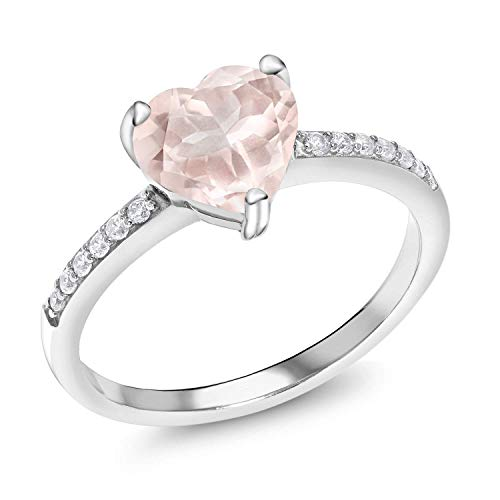 Gem Stone King Heart Shape Rose Quartz Silver Ring